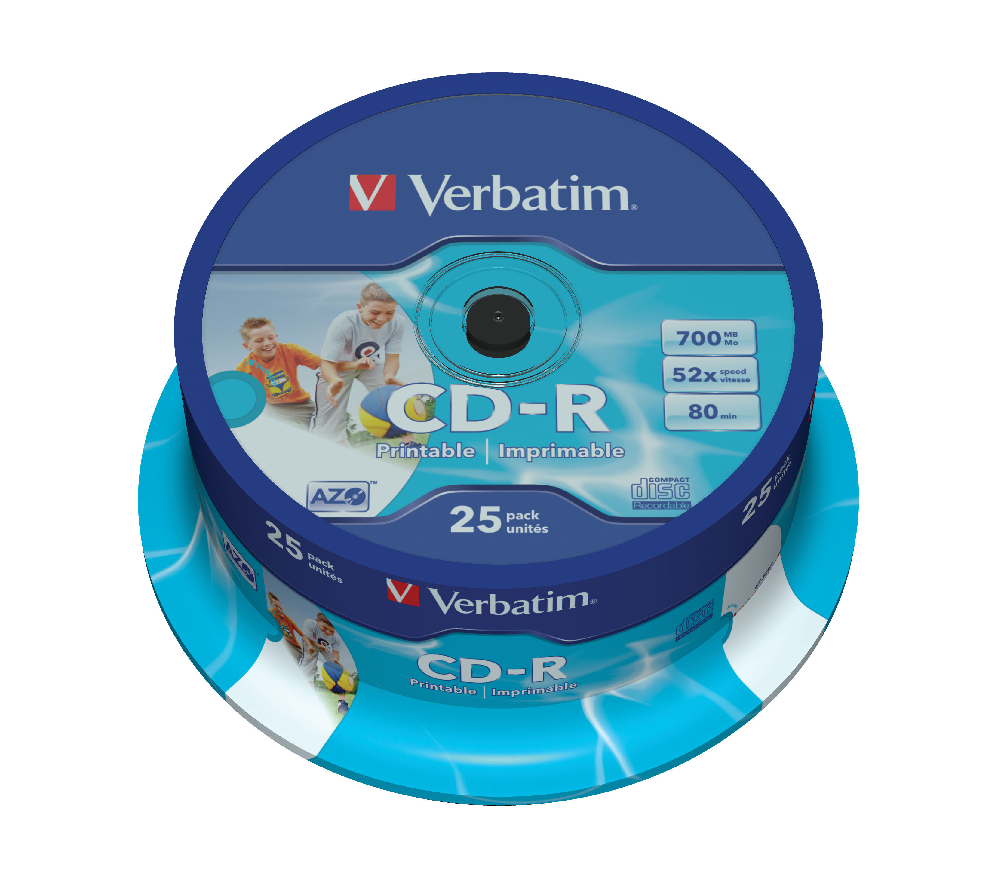 CD-R Verbatim 700 MB Printable, cake 25 ks, 43439