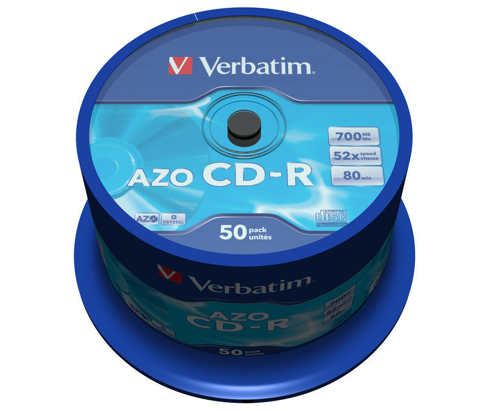CD-R Verbatim 700 MB cake 50 ks Crystal AZO Protection, 43343