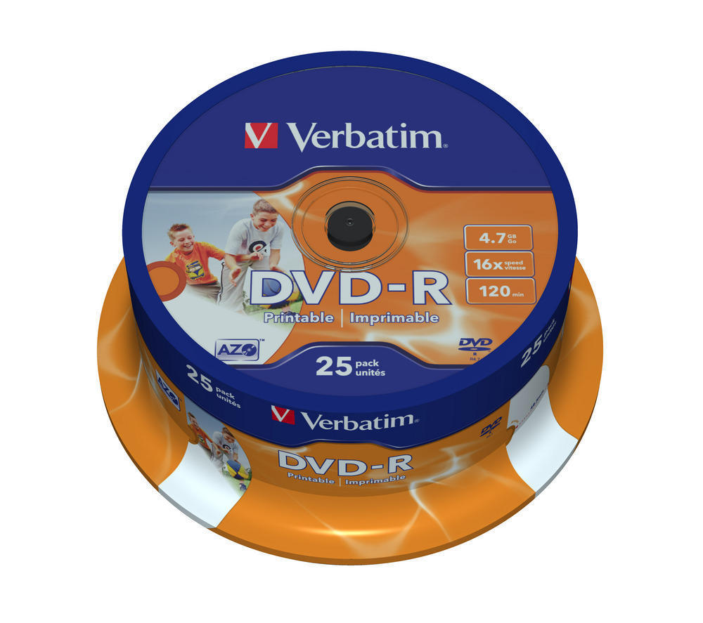 DVD-R Verbatim 4,7 GB 16x Printable, cake 25 ks, 43538